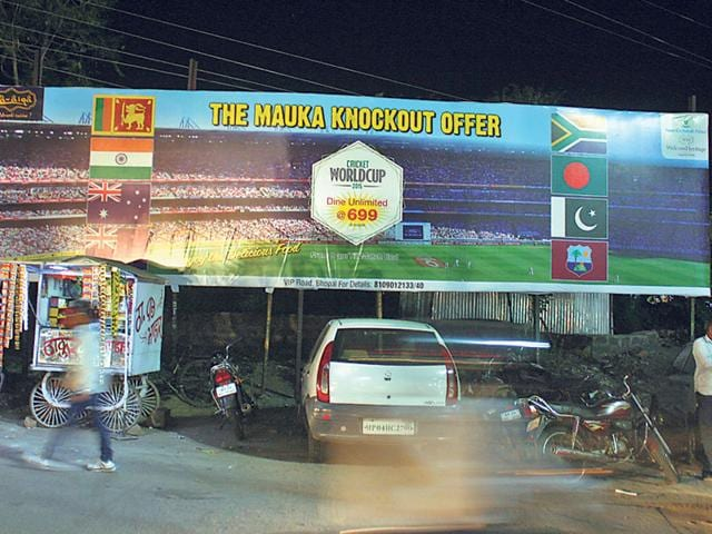 A-hoarding-announcing-offers-provided-by-a-hotel-during-World-Cup-matches-in-MP-Nagar-area-HT-photo