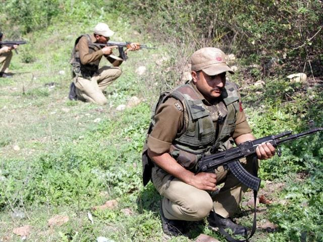 Security-perssonals-during-an-encounter-between-Security-forces-and-Terrorists-at-Mehasar-village-in-Samba-district-about-41km-from-Jammu-Nitin-Kanotra-HT