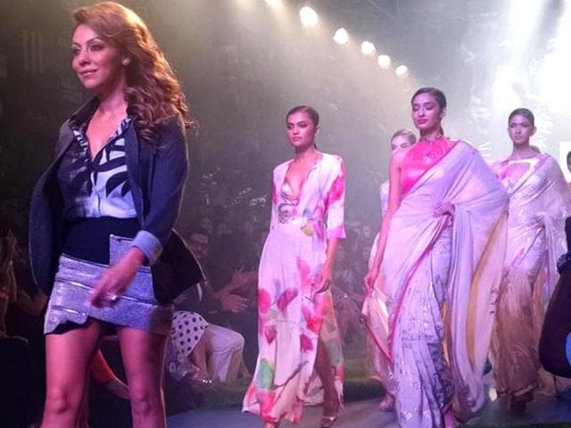 Woot-woot-SRK-s-wife-Gauri-Khan-is-in-the-house-Day-3-of-Lakme-Fashion-Week-Summer-Resort-2015-saw-the-First-Lady-of-Bollywood-showcase-a-special-Satya-Paul-collection-AFP