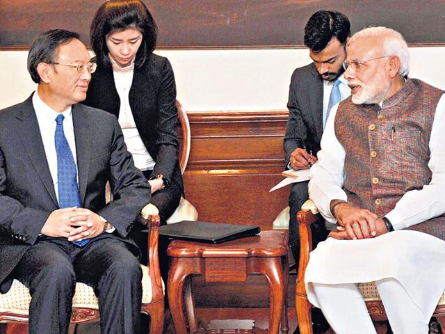 Prime-Minister-Narendra-Modi-with-China-s-State-Councillor-Yang-Jiechi-during-their-meeting-in-New-Delhi-PIB-Photo