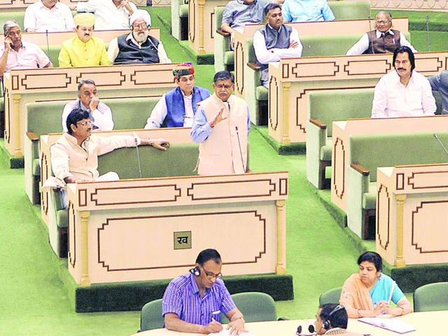 Home-minister-Gulab-Chand-Katariya-in-the-state-assembly-in-Jaipur-HT-file-photo