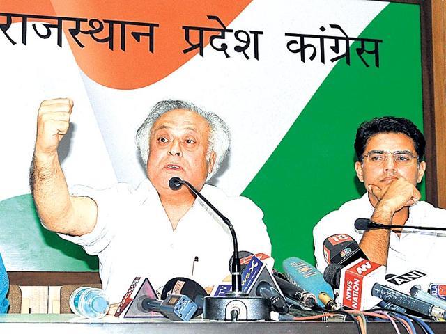 Senior-Congress-leader-Jairam-Ramesh-and-PCC-president-Sachin-Pilot-at-the-party-office-in-Jaipur-on-Saturday-Prabhakar-Sharma-HT