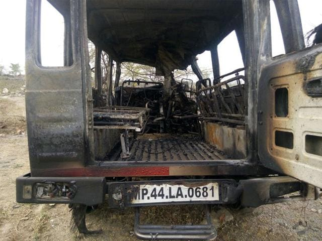 The-ambulance-which-caught-fire-on-Mhow-Neemuch-state-highway-on-Sunday-HT-photo