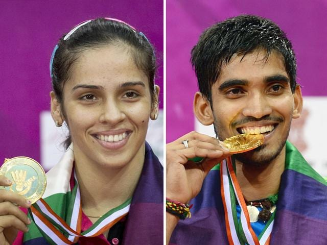 Elated-Saina-Nehwal-and-K-Srikanth-display-their-gold-medals-after-winning-the-India-Open-Badminton-in-New-Delhi-Photos-AP-and-AFP