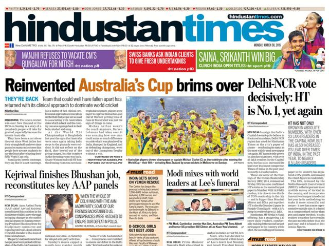 Image result for Hindustan Times (HT) Newspapers