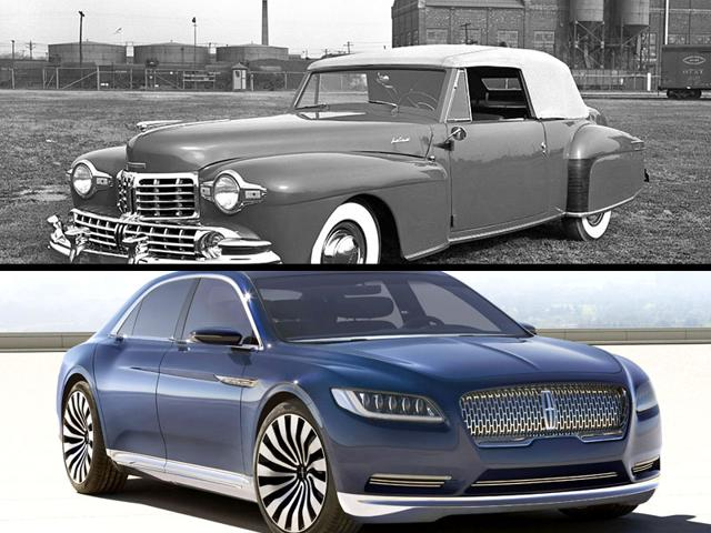 The-1948-Lincoln-Continental-Cabriolet-V12-above-and-the-concept-of-the-new-Continental-AP-Photo