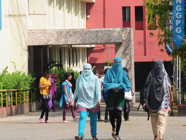 Students-come-out-of-Sarojini-Naidu-Government-Girls-College-in-Bhopal-on-Monday-The-college-has-barred-girls-from-covering-their-faces-Mujeeb-Faruqui-HT-photo