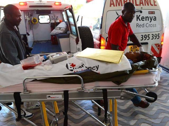 A-victim-of-the-attack-on-a-Kenyan-university-is-wheeled-into-the-Kenyatta-hospital-AFP-Photo