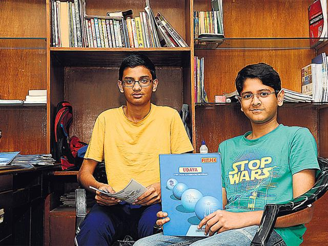 Delhi-brothers-Yash-L-and-Ayush-Jha-students-of-Class-7-and-6-respectively-have-enrolled-for-IIT-JEE-coaching-Burhaan-Kinu-HT-Photo