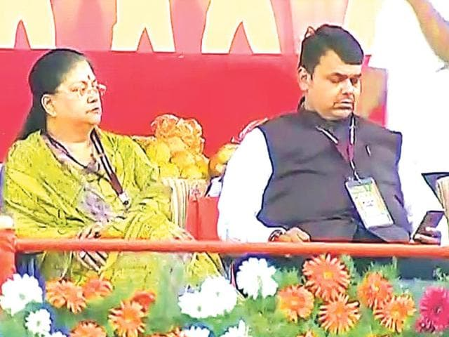 Chief-minister-Vasundhara-Raje-at-the-Bharatiya-Janata-Party-s-executive-meet-in-Bengaluru-HT-Photo
