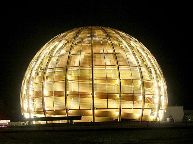 The-globe-of-the-European-Organization-for-Nuclear-Research-CERN-is-illuminated-outside-Geneva-Switzerland-AP-File-Photo