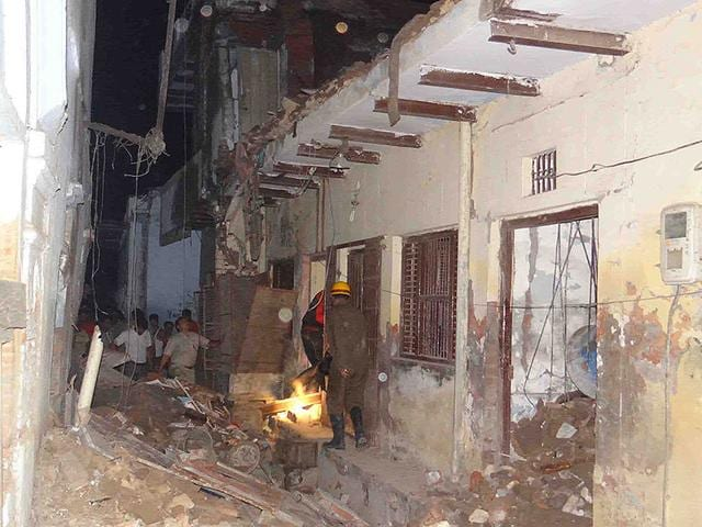 The-police-are-suspecting-that-crackers-stored-inside-triggered-an-LPG-explosion-in-an-Agra-home-HT-Photo