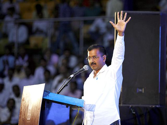 Delhi-chief-minister-Arvind-Kejriwal-addressing-a-gathering-during-the-re-launch-of-the-Anti-Corruption-Helpline-1031-at-Talkatora-Stadium-in-New-Delhi-India-on-Sunday--Raj-K-Raj-HT-Photo