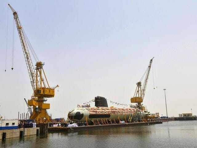 India-s-first-Scorpene-submarine-which-can-carry-18-torpedoes-and-travel-1-020-kilometres-underwater-was-floated-at-the-Mazagon-Docks-in-Mumbai-Pratham-Gokhale-HT-photo