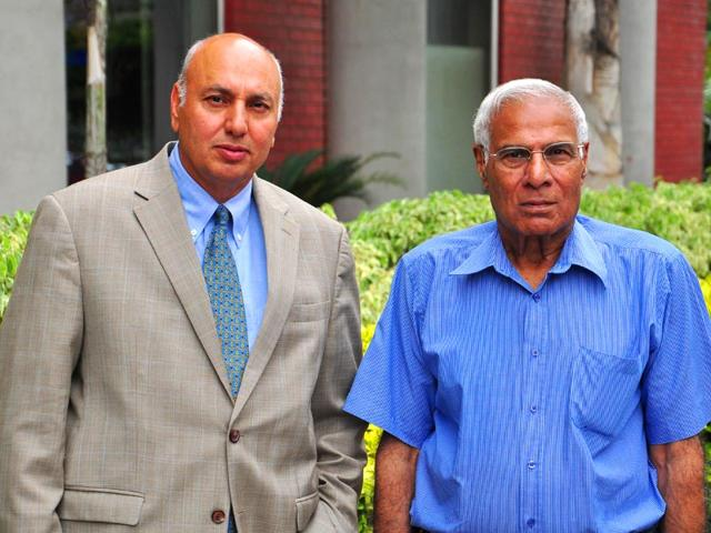 Canada-based-Punjabis-Herb-Singh-Dhaliwal-left-and-Dr-Gurdev-Singh-Gill-in-Chandigarh-on-Monday-Karun-Sharma-HT-Photo