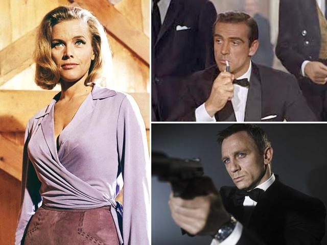 Left-to-right-Former-Bond-girl-Honor-Blackman-who-portrayed-the-role-of-Pussy-Galore-in-Goldfinger-alongside-Sean-Connery-former-007-Sean-Connery-and-current-James-Bond-Daniel-Craig-Agencies