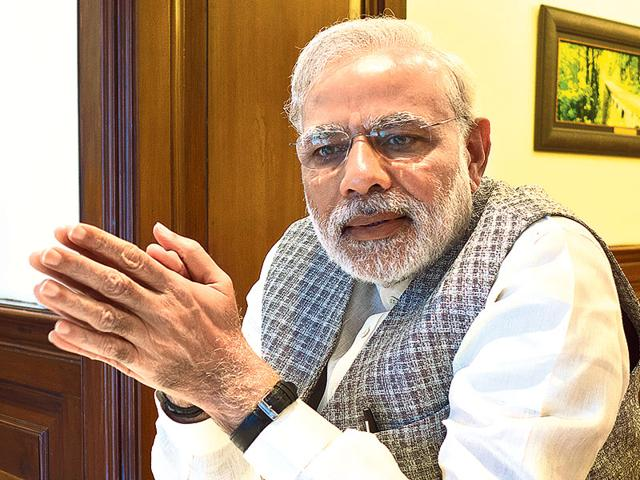 Prime-Minister-Narendra-Modi-speaks-to-Hindustan-Times-during-a-breakfast-meet-After-a-light-fruit-breakfast-the-PM-gets-straight-to-work-with-meetings-that-usually-begin-from-9am-HT-photo-by-editor-in-chief-Sanjoy-Narayan