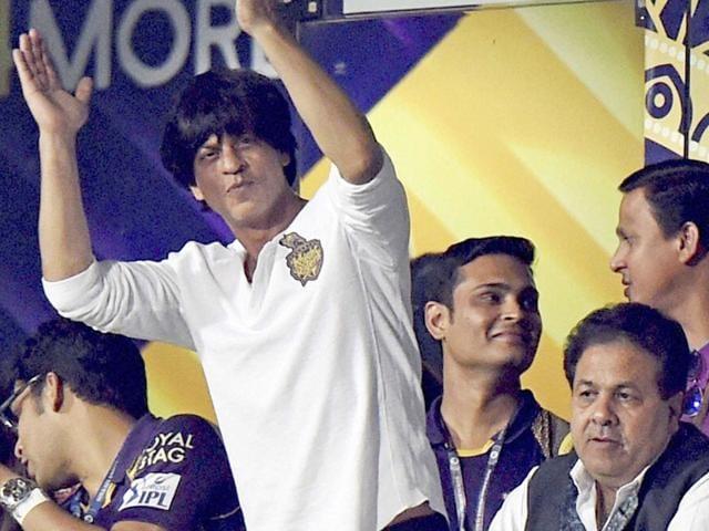 Shah-Rukh-Khan-cheers-his-team-Kolkata-Knight-Riders-during-IPL-2015-at-Eden-Garden-Kolkata-on-Wednesday-PTI-Photo