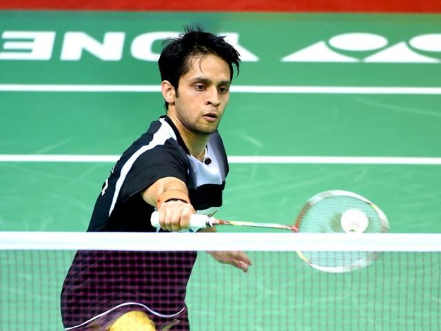 India-s-Parupalli-Kashyap-hits-a-return-during-the-men-singles-semifinal-rounds-of-Indonesia-Open-badminton-tournament-against-Japan-s-Kento-Momoto-in-Jakarta-AFP-PHOTO