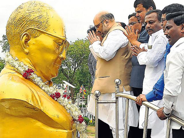 BJP-president-Amit-Shah-along-with-other-party-leaders-paying-tributes-to-BR-Ambedkar-at-Deeksha-Bhoomi-in-Nagpur-HT-Photo