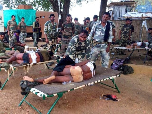 Injured-jawans-of-Special-Task-Force-being-provided-medical-help-after-an-encounter-with-Maoists-in-Pedmal-forest-in-Chhattisgarh-s-Sukma-district-on-Saturday-PTI-Photo