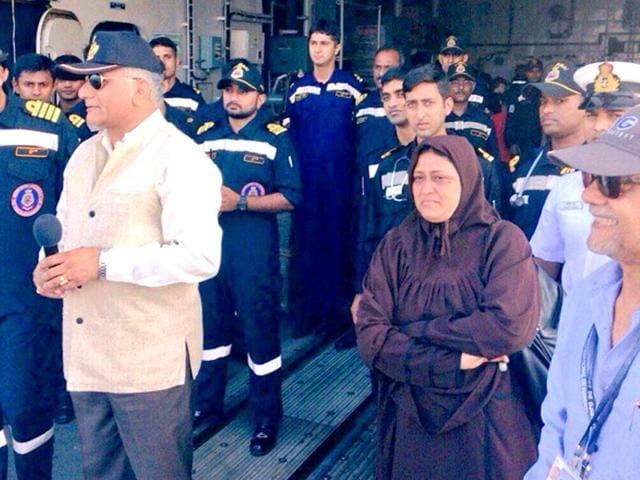 Tahseen-Bahader-a-vice-principal-at-Aden-s-Mahatma-Gandhi-International-School-is-seen-alongside-VK-Singh-MoS-for-external-affairs-aboard-an-Indian-Navy-vessel-in-Djibouti