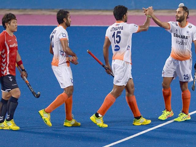 India-s-Satbir-Singh-R-celebrates-with-teammates-after-scoring-a-goal-during-the-third-place-play-off-match-against-South-Korea-in-the-Sultan-Azlan-Shah-Cup-in-Malaysia-s-northern-town-of-Ipoh-on-Sunday-AFP-Photo