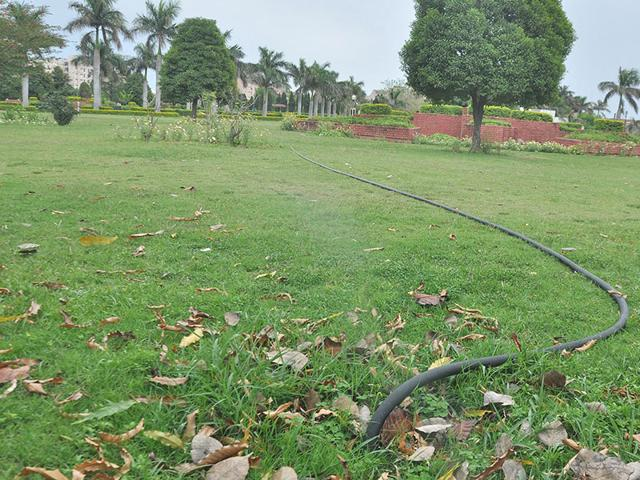 Potable-water-being-used-to-irrigate-City-Fountain-Park-Sector-5-in-Panchkula-on-Sunday-Sant-Arora-HT-Photo