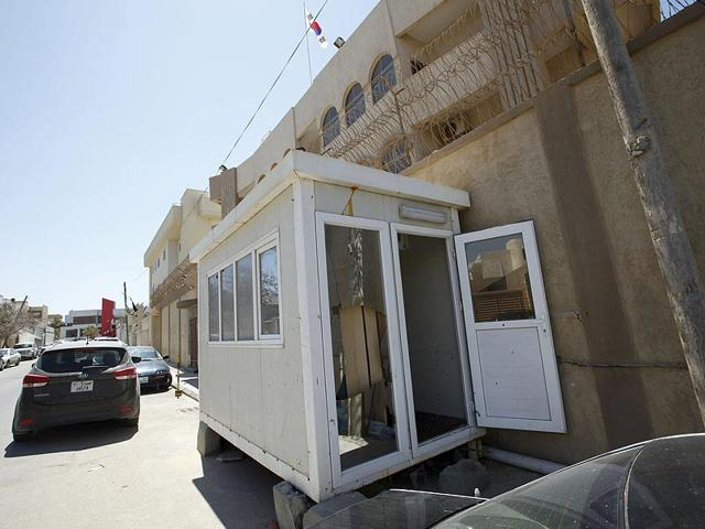 A-damaged-cabin-is-seen-outside-the-South-Korean-embassy-after-it-was-attacked-by-gunmen-in-Tripoli-Photo-Reuters