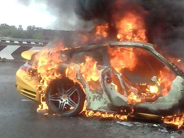 A-Porsche-car-that-caught-fire-on-Outer-Ring-Road-in-Hyderabad-Photo-by-special-arrangement