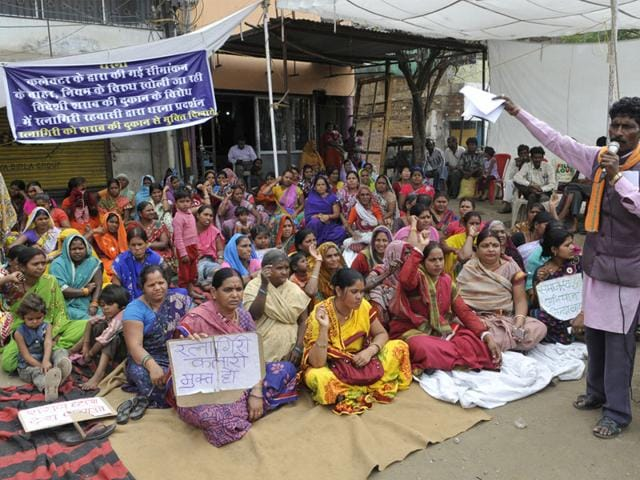 Residents-of-Ratnagiri-stage-a-protest-against-a-liquor-shop-in-their-area-Praveen-Bajpai-HT-photo