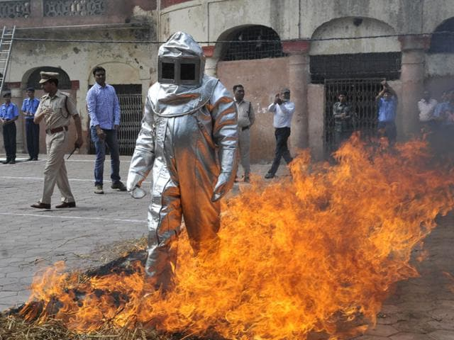 A-firefighting-drill-underway-in-Bhopal-during-the-Fire-Safety-Week-celebrations-HT-File-photo