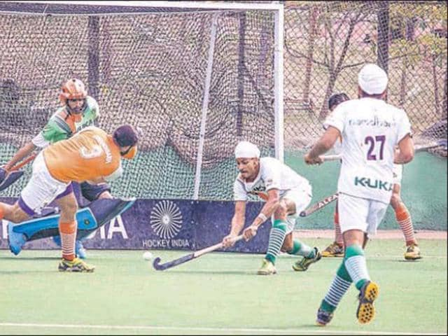 The-semifinals-match-of-the-5th-edition-of-Hockey-India-Senior-Men-National-Championship-between-Namdhari-XI-and-Chandigarh-Olympic-Association-orange-in-progress-at-Pune-on-Tuesday-HT-Photo-