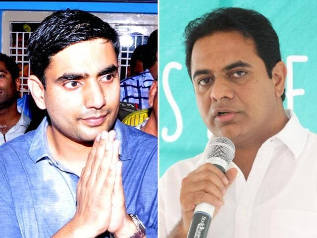 Nara-Lokesh-L-son-of-Chandrababu-Naidu-and-KT-Rao-R-son-of-K-Chandrasekhar-Rao