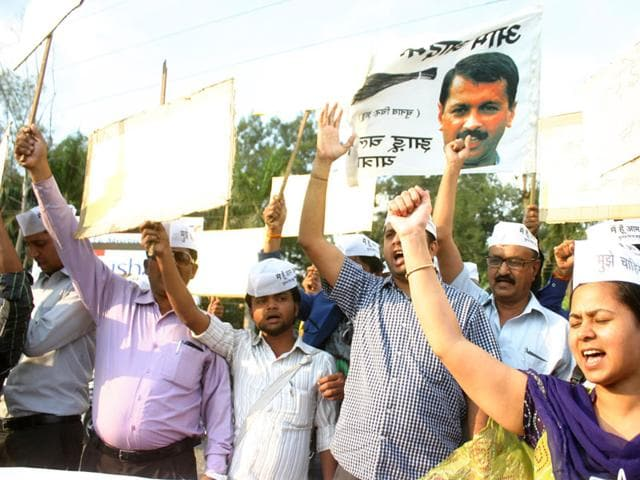 AAP-activists-demonstrate-in-Bhopal-in-support-of-Omkareswar-project-affected-people-who-are-organising-Jal-Satyagraha--in--Ghogalgaon-HT-file-photo