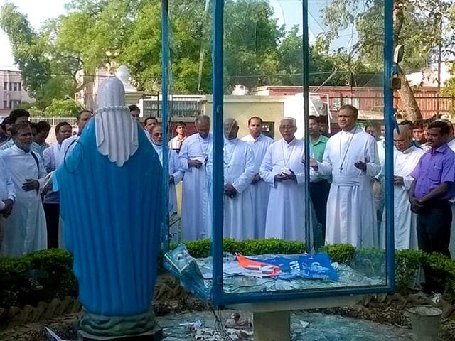 Vandals-dislodged-and-damaged-four-statues-of-Mother-Mary-outside-the-St-Mary-Church-located-in-the-Pratabpura-area-in-Agra-HT-Photo
