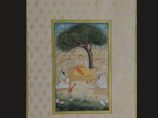 A-miniature-painting-depicting-Sikh-Guru-Nanak-Dev-with-his-two-disciples-Photo-courtesy-Official-twitter-page-of-Narendra-Modi