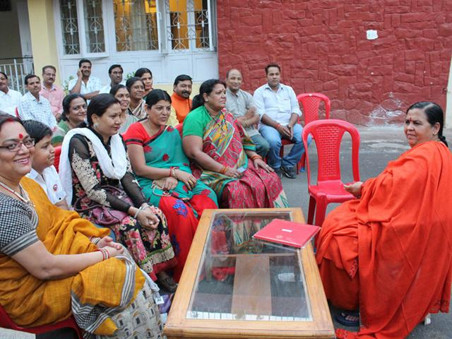 Union-minister-Uma-Bharti-at-her-official-residence-in-Bhopal-on-Thursday-after-she-was-acquitted-by-a-Bhopal-court-in-an-old-case