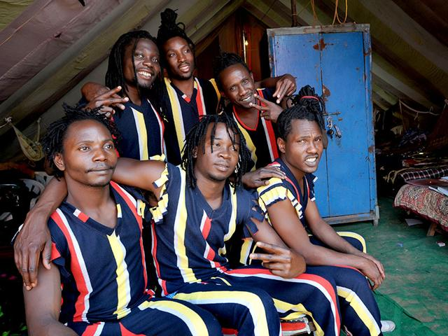 Kenyan artistes who are a part of Asiad Circus at Manimajra. (HT Photo)
