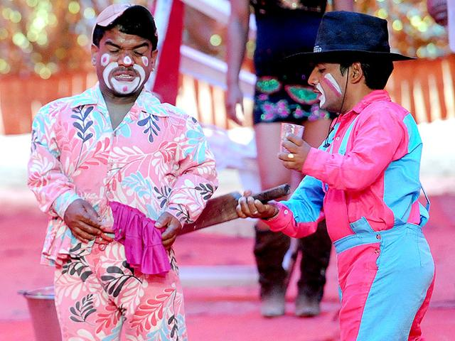 Clowns performing a funny act at the Asiad circus on Thursday. (HT Photo)