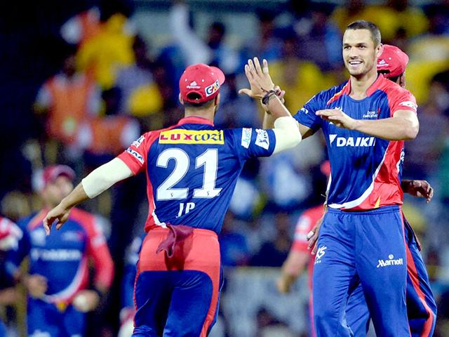 Delhi-Daredevils-Nathan-Coulter-Nile-celebrates-along-with-teammates-after-dismissing-of-Chennai-Super-Kings-batsman-Brendon-McCullum-during-their-IPL-2015-match-at-MAC-Stadium-in-Chennai-PTI-Photo