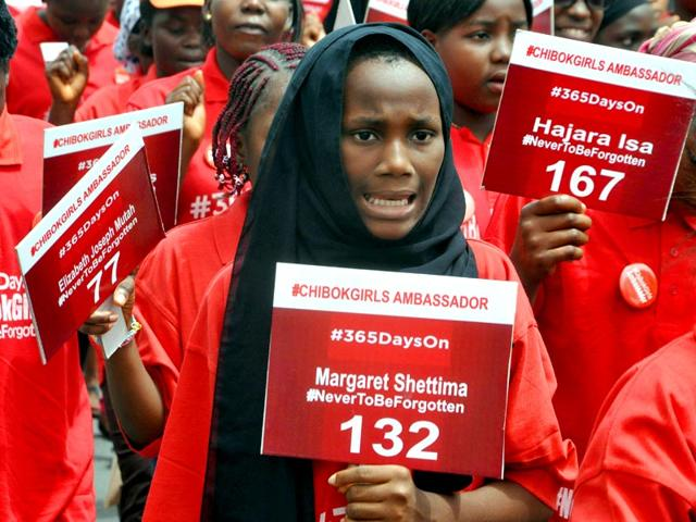 Children-under-the-auspices-of-Chibok-Girls-Ambassadors-march-to-press-for-the-release-of-219-schoolgirls-abducted-by-Boko-Haram-Islamists-during-a-demonstration-at-ministry-of-education-in-Abuja-AFP-PHOTO