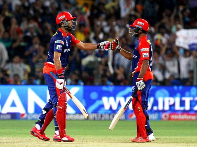 Delhi-Daredevils-player-Yuvraj-Singh-and-Delhi-Daredevils-player-Mayank-Agarwal-during-an-IPL-T20-match-against-Kings-XI-Punjab-in-Pune-PTI-Photo