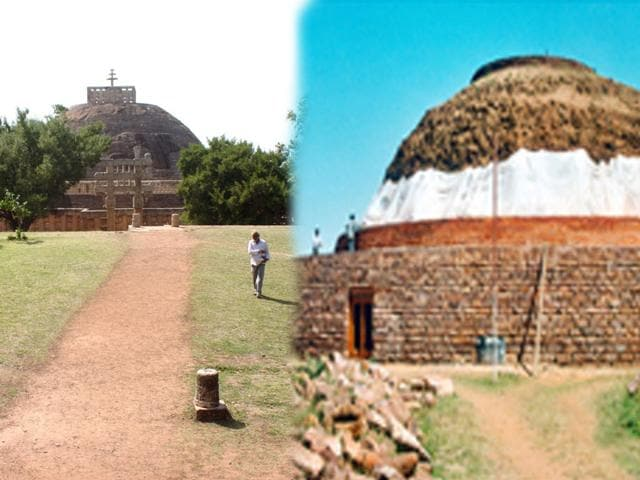 The-eastern-foreground-of-Sanchi-stupa-number-1-where-excavation-was-suggested-by-John-Marshall-to-find-new-remains-Bidesh-Manna-HT-photo-Right--The-main-stupa-at-Buddhist-site-Satdhara-in-Raisen-ASI-website