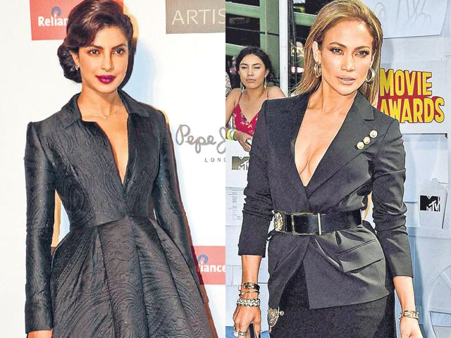 From-L-to-R-Priyanka-Chopra-in-a-jacquard-weave-black-by-label-Ashi-Studio-and-Jennifer-Lopez-in-a-Versus-Versace-creation-Photos-AFP-and-PTI