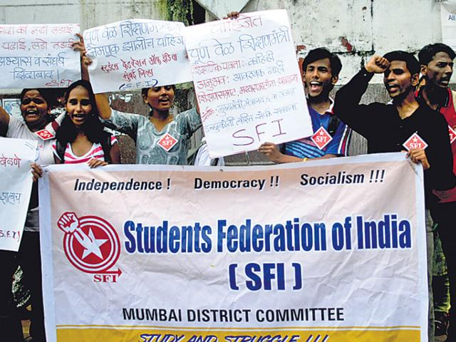 Members-of-Students-Federation-of-India-SFI-stage-a-protest-demonstration-in-Mumbai-HT-File-Photo