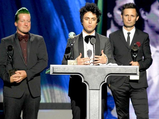 Green-Day-singer-Billie-Joe-Armstrong-speaks-as-his-band-is-inducted-during-the-2015-Rock-and-Roll-Hall-of-Fame-Induction-Ceremony-in-Cleveland-Ohio-on-April-18-Reuters