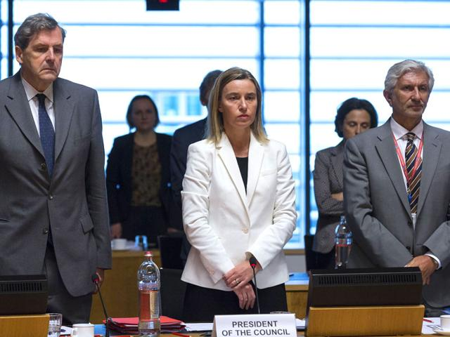 European-Union-high-representative-Federica-Mogherini-observes-a-moment-of-silence-during-a-meeting-of-EU-foreign-ministers-at-the-EU-Council-building-in-Luxembourg-following-the-latest-Mediterranean-migrant-tragedy-AP-Photo