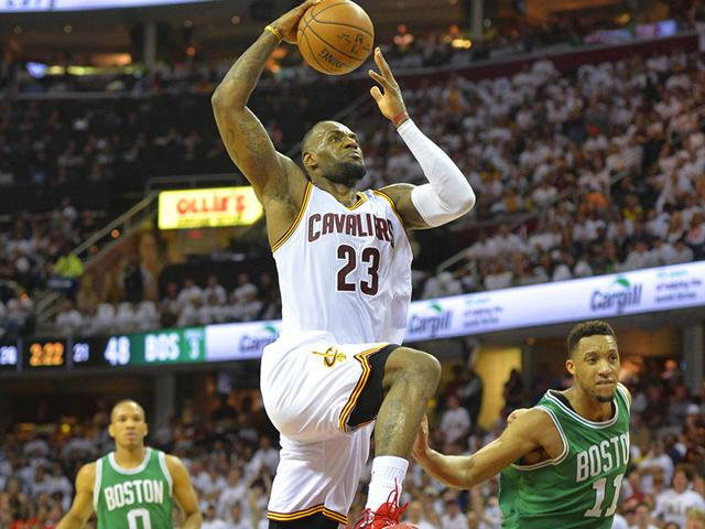 Cleveland-Cavaliers-forward-LeBron-James-23-drives-to-the-basket-against-Boston-Celtics-guard-Evan-Turner-11-in-the-second-quarter-in-game-one-of-the-first-round-of-the-NBA-Playoffs-at-Quicken-Loans-Arena-David-Richard-USA-TODAY-Sports