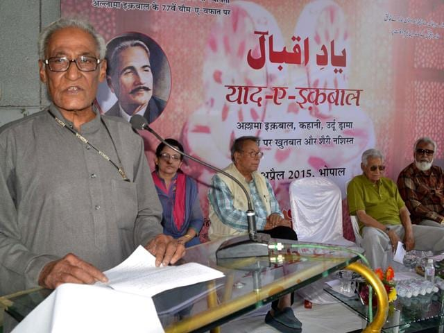 Litterateur-Naeem-Kausar-addresses-Yaad-e-Iqbal--a-programme-held-to-commemorate-Iqbal-s-death-anniversary-in-Bhopal-on-Tuesday-HT-photo